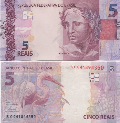 Cédula Brasil 5 Reais BC (Mantega/Tombini) FE