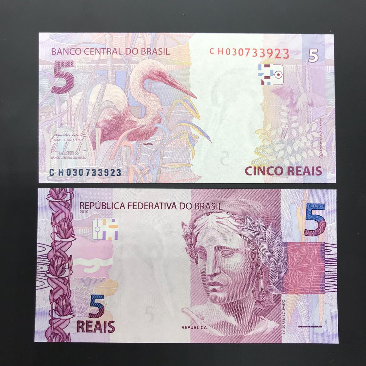 Cédula Brasil 5 Reais CH (Levy/Tombini) FE