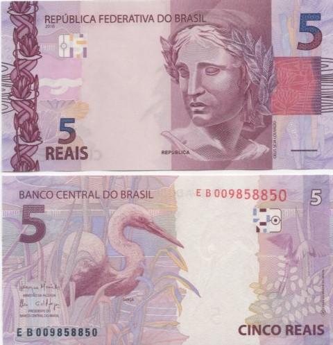Cédula Brasil 5 Reais EB (Meirelles/Ilan) FE