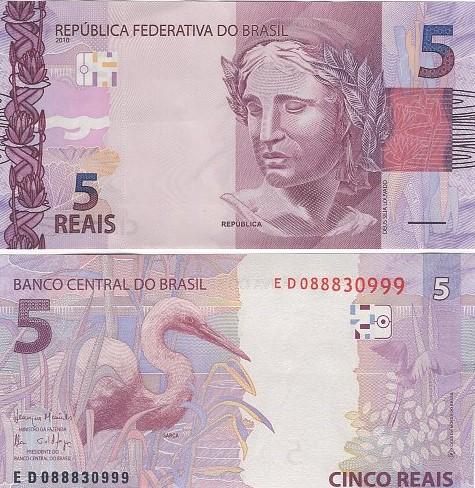 Cédula Brasil 5 Reais ED (Meirelles/Ilan) FE