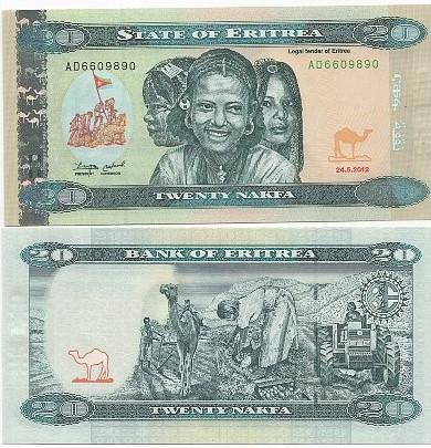 Cédula Eritreia20 Nakfa 1997 FE