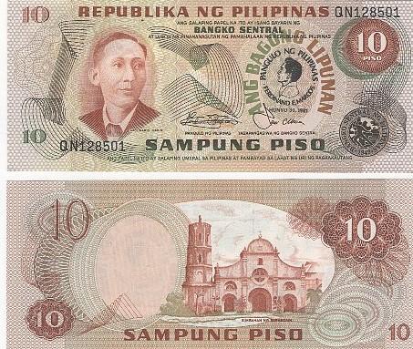 Cédula Filipinas Comemorativa 10 Piso 1981 FE