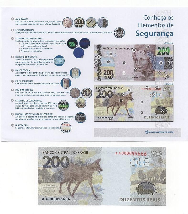 Cédula Lobo-guará (FE) +  informativo com a descrição dos elementos de segurança