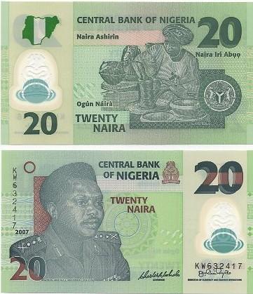 Cédula Nigéria 20 Naira 2007 FE
