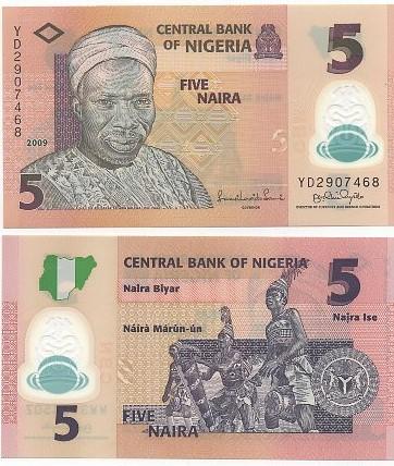 Cédula Nigéria Polímero 5 Naira FE