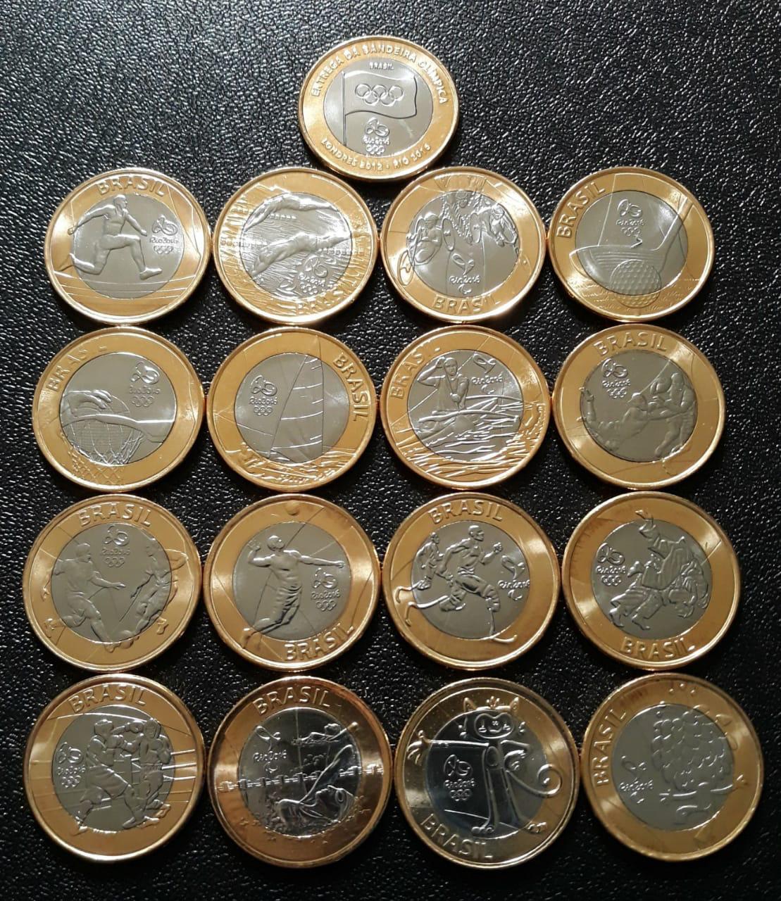 Coleção Completa  das Olimpiadas 17 moedas Flor de Cunho