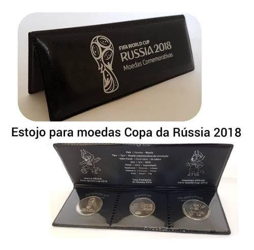 Estojo Completo com 3 Moedas Copa do Mundo Rússia 2018