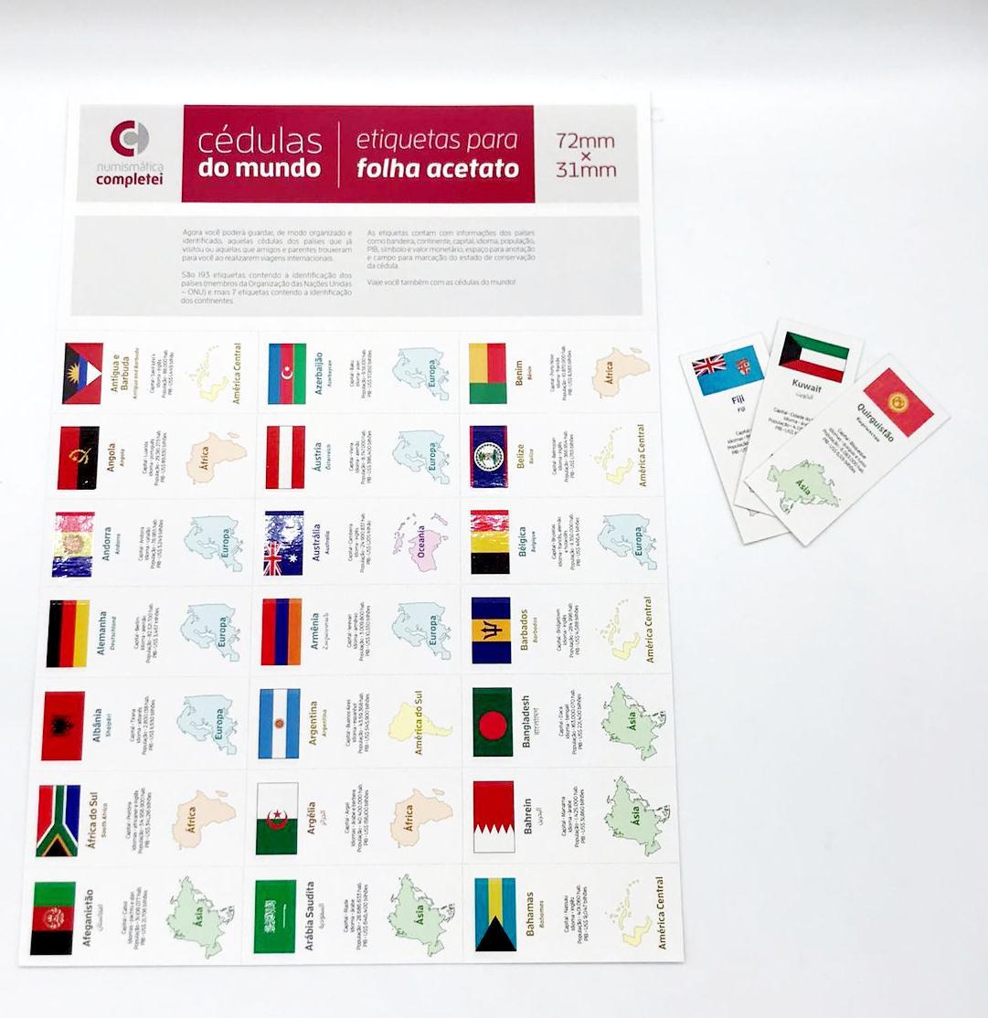 Etiquetas Cédulas do Mundo - ECDM