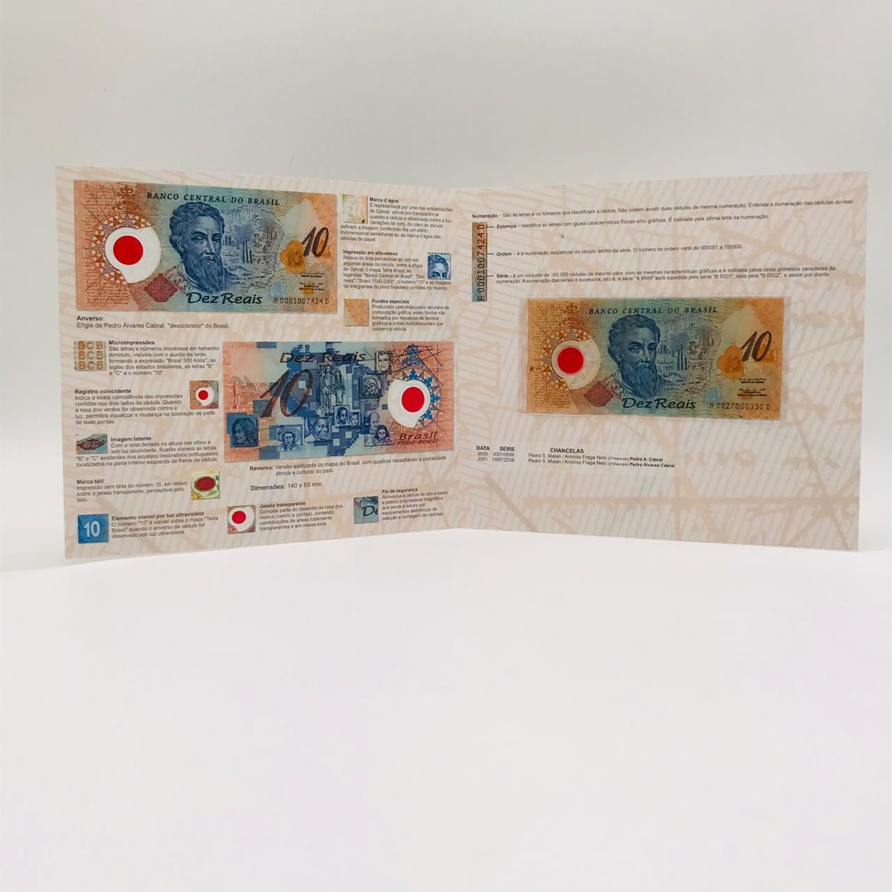 Folder 10 Reais de Polímero (não oficial) + Cédula Pedro Álvares Cabral - MBC
