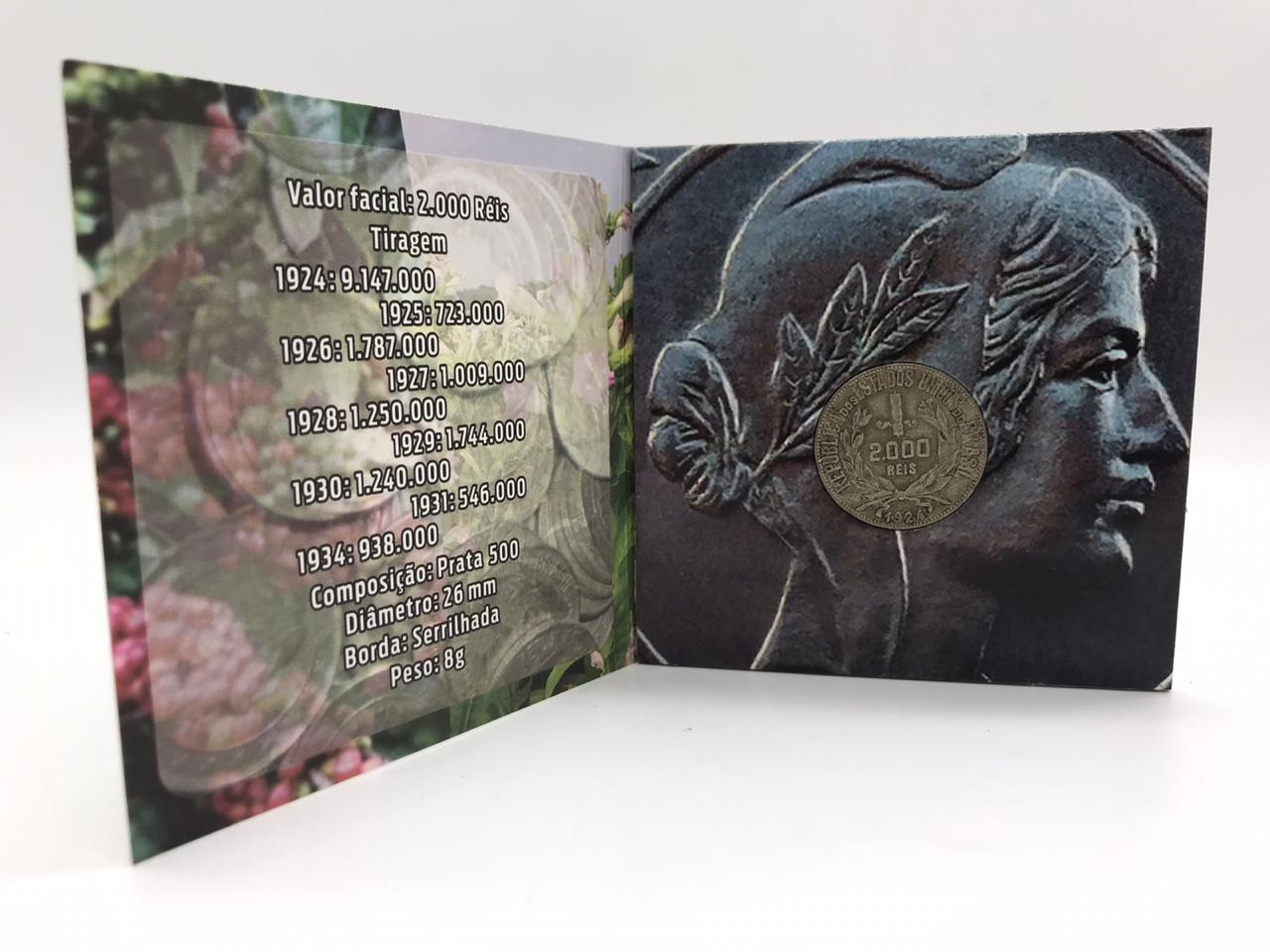Folder com a moeda de 2000 reis 1924 MBC+