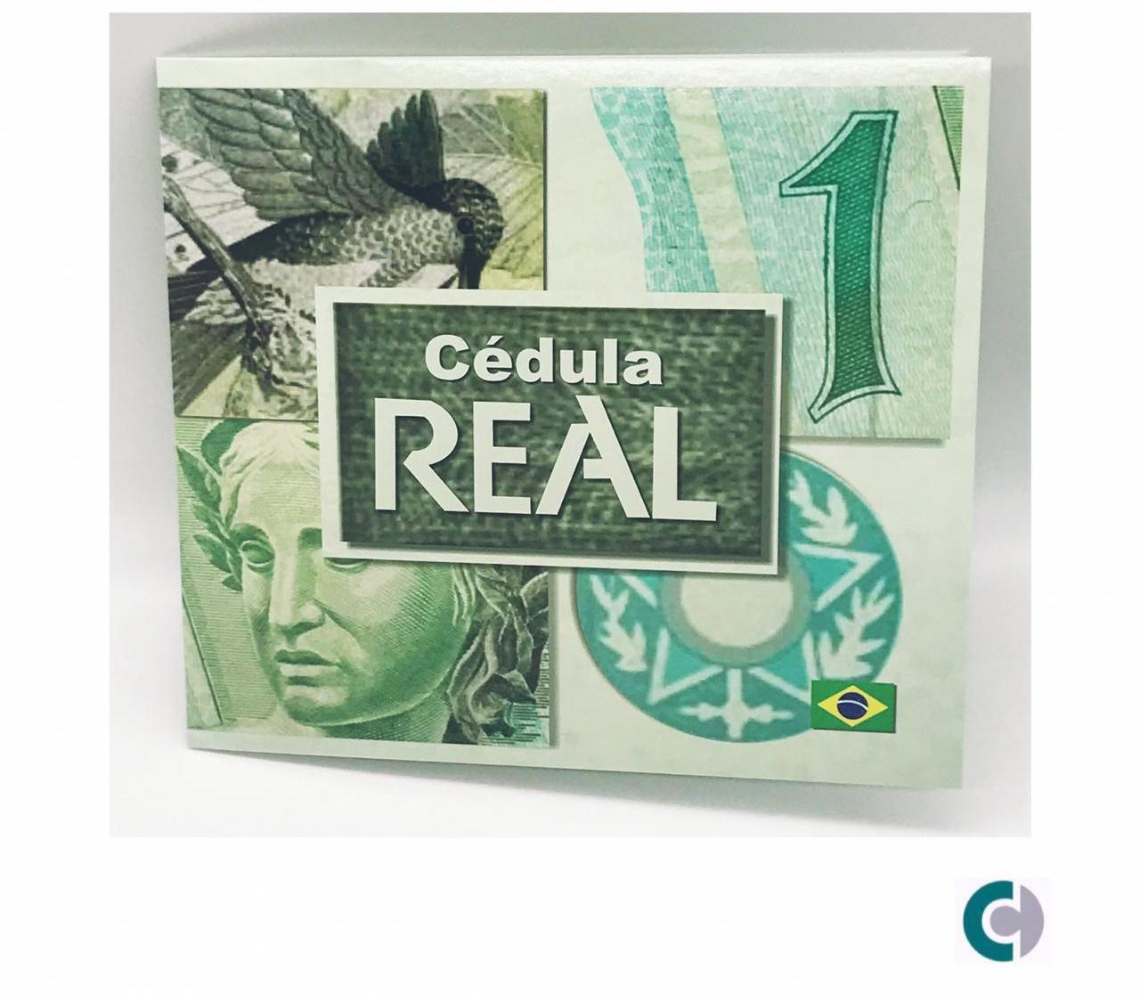FOLDER COM CÉDULA DE 1 REAL