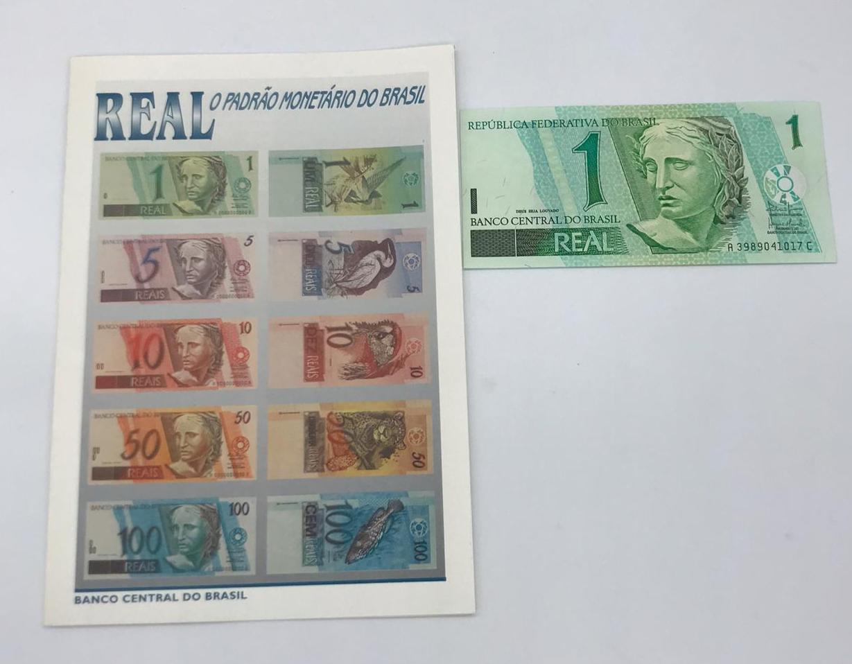 FOLDER com ESPECIFICAÇOES DA CÉDULAS DE 1994  BRINDE CEDULA FE 1 REAL