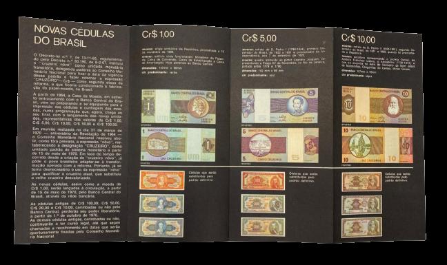 Folder do BCB Novas Cédulas do Brasil Cruzeiro