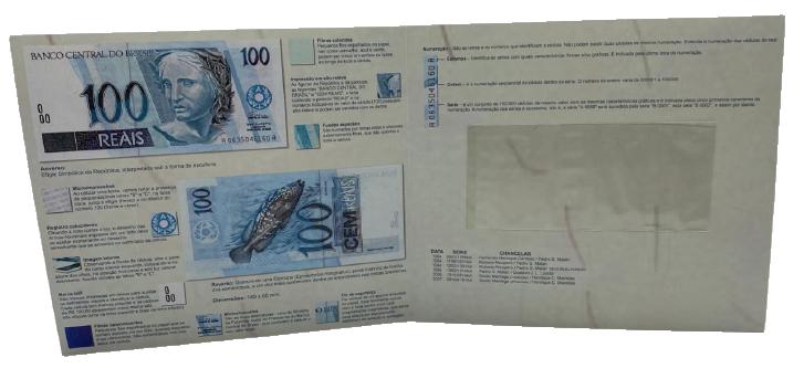 Folder Encarte para Cédula de 100 Reais - 1ª Família