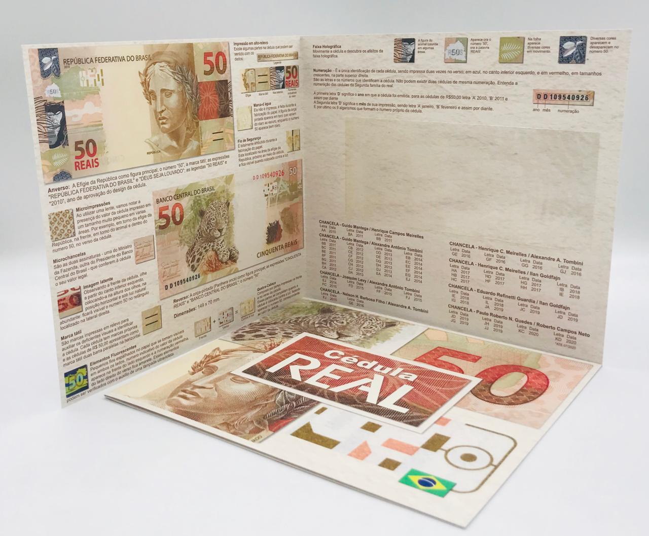 Folder Encarte para Cédula de 50 Reais - 2ª Família