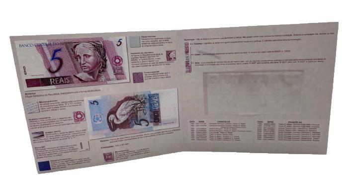 Folder Encarte para Cédula de 5 Reais - 1ª Família