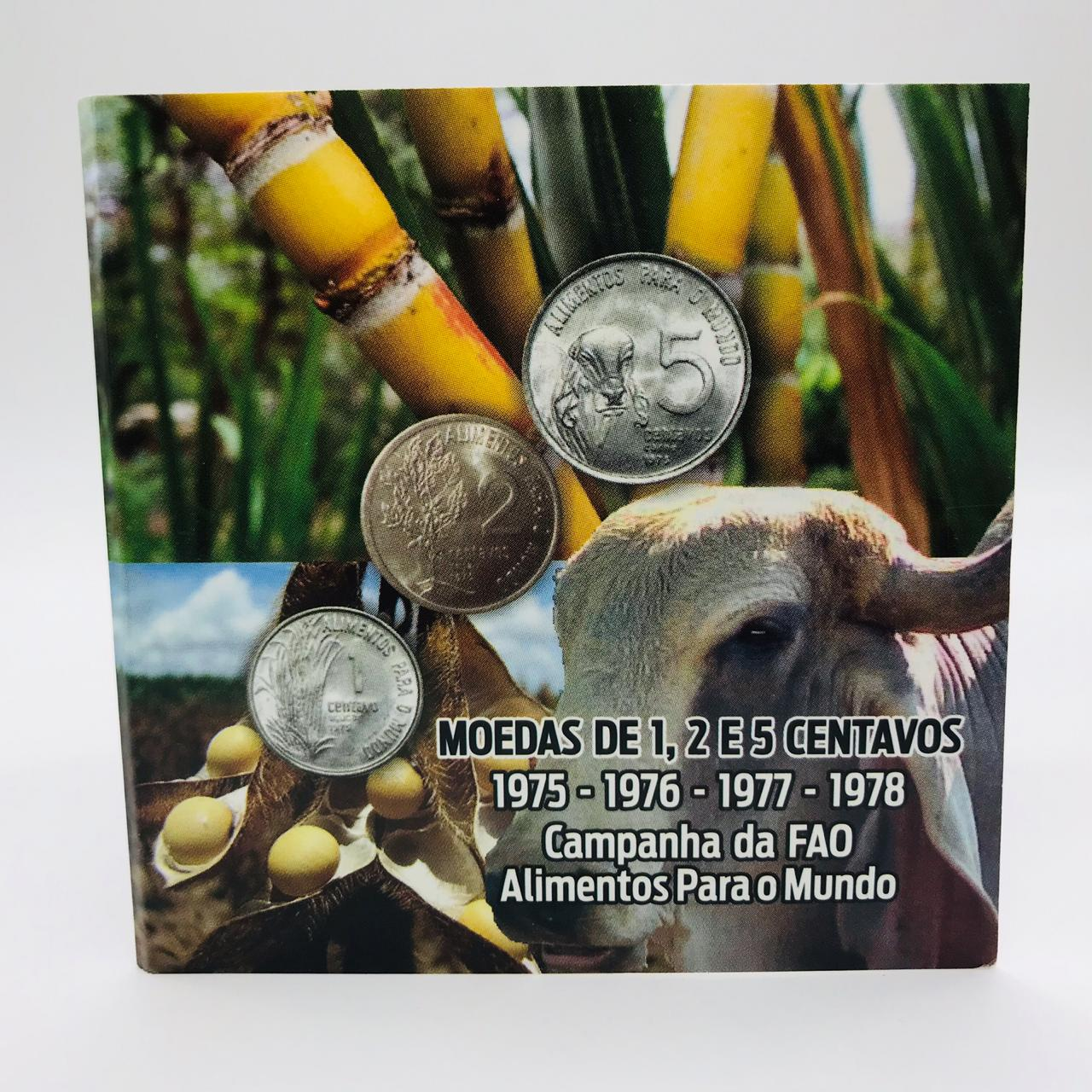 Folder Moedas FAO 1, 2 e 5  Centavos 1975