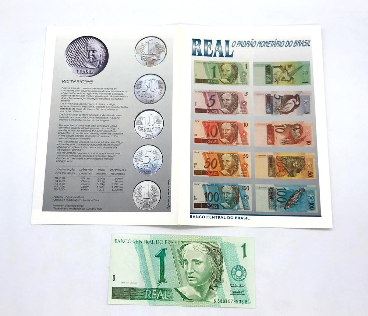 Folder Real O Padrão Monetário do Brasil- Oficial da Casa da Moeda do Brasil + Cédula
