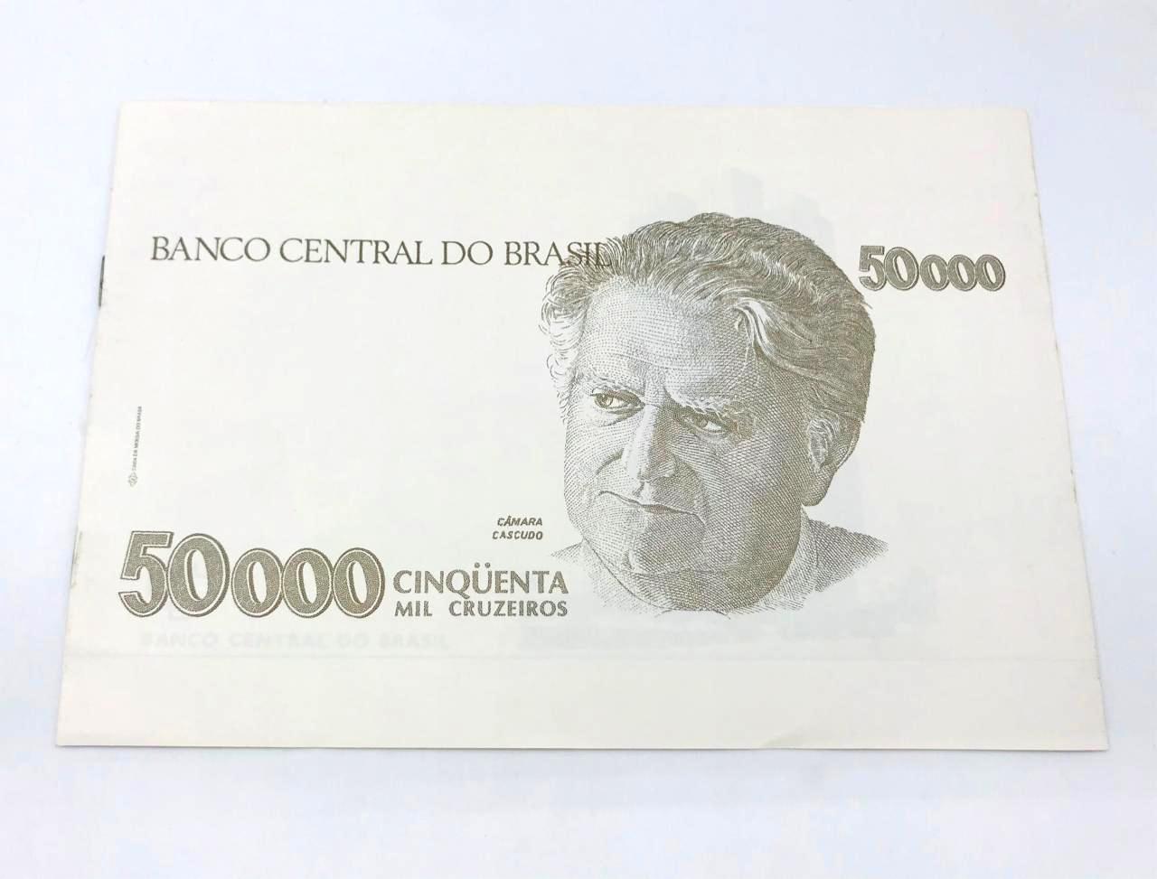 Folder Oficial da Casa da Moeda do Brasil 50 000 cisqueta mil cruzeiros