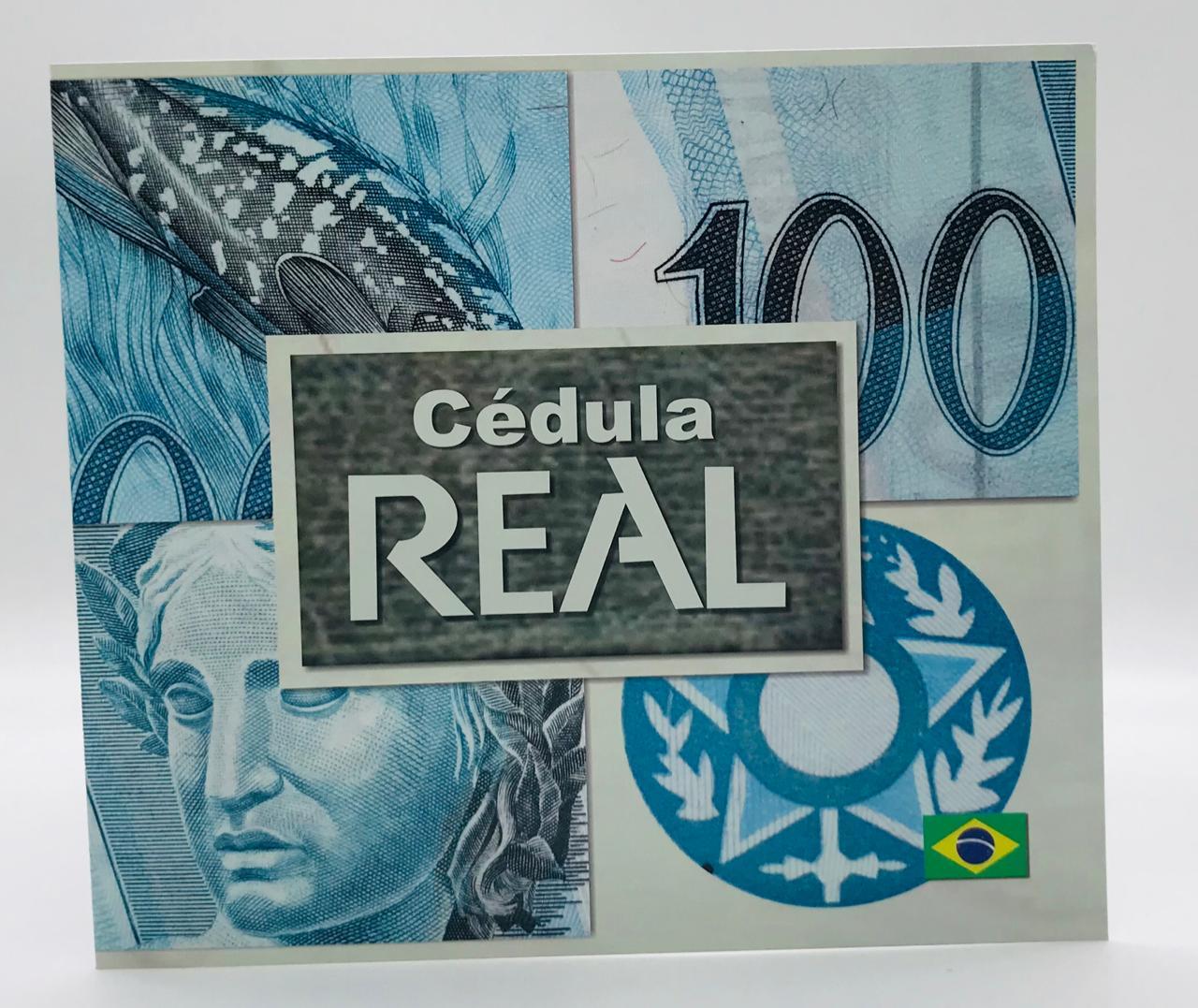 FOLDER PARA CÉDULA DE 100  REAIS 1 FAMILIA