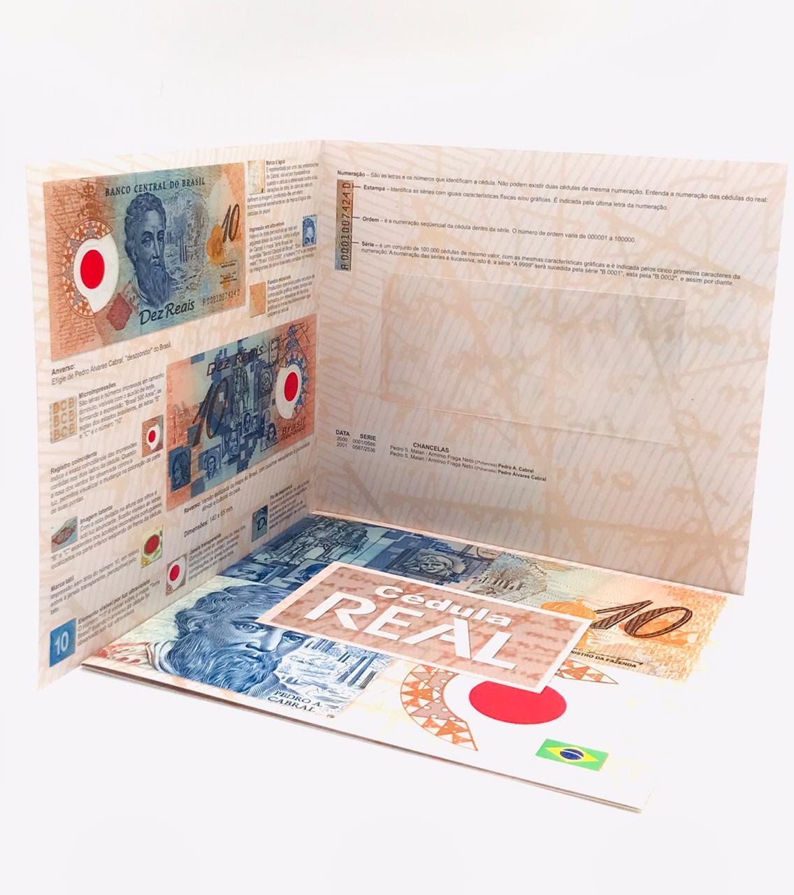 Folder Vazio para cédula de 10 reais Polímero Primeira Família