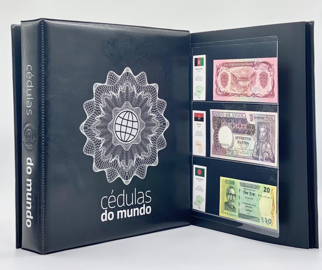 Kit Álbum tipo Fichário Cédulas do Mundo + 30 folhas