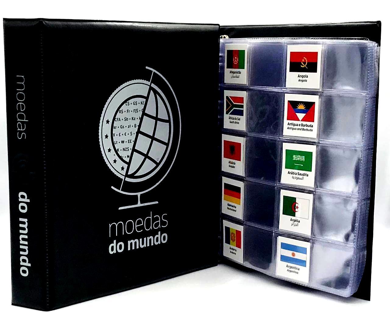 Kit Álbum tipo Fichário Moedas do Mundo + 20 folhas + Etiquetas Moedas do Mundo