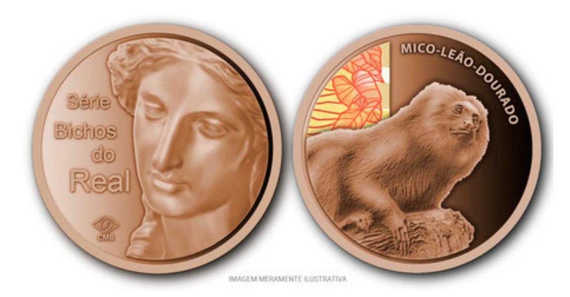 Medalha de Bronze Bichos do Real Mico-Leão-Dourado (Oficial da Casa da Moeda do Brasil)