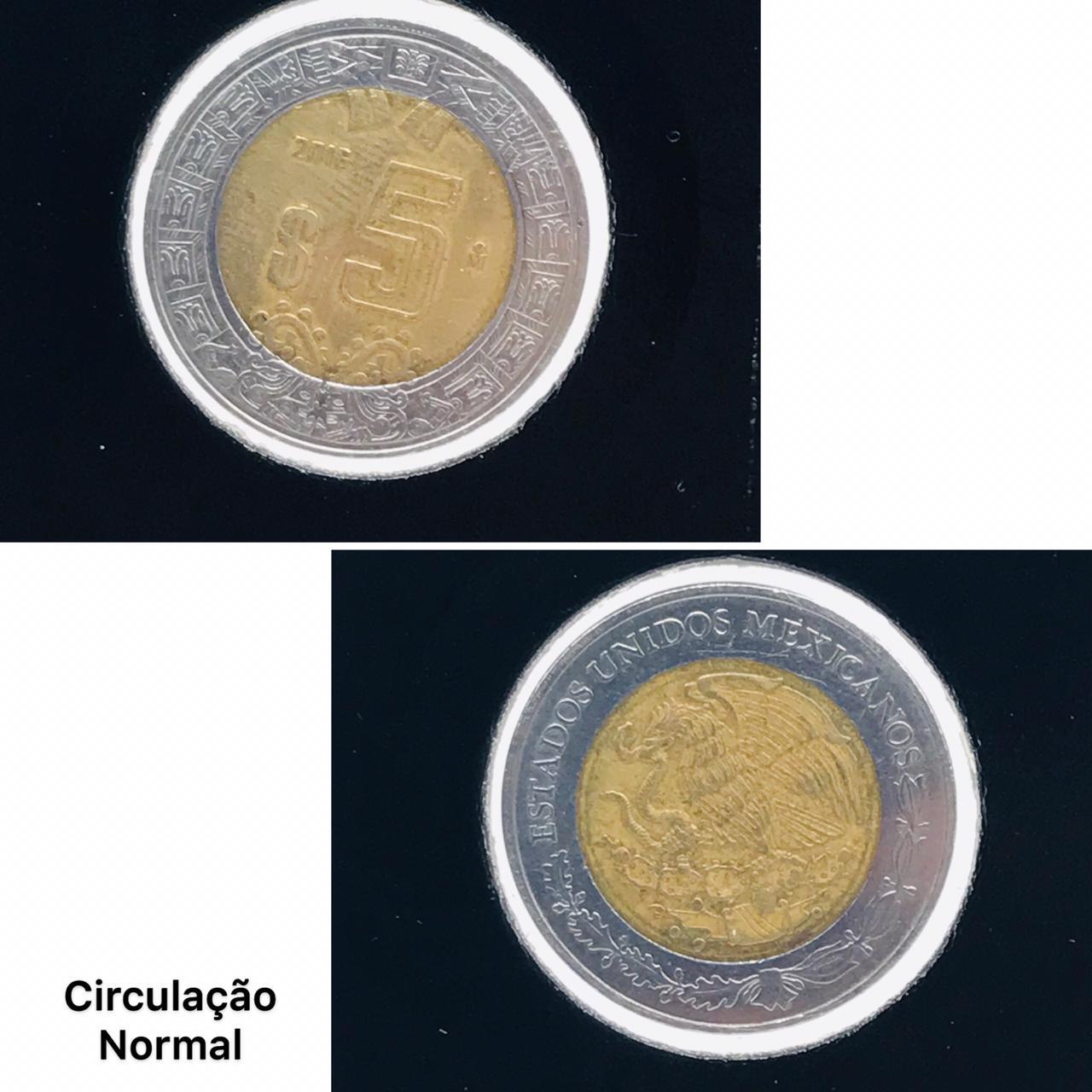 Moeda México Bimetálica 5 Pesos Novos