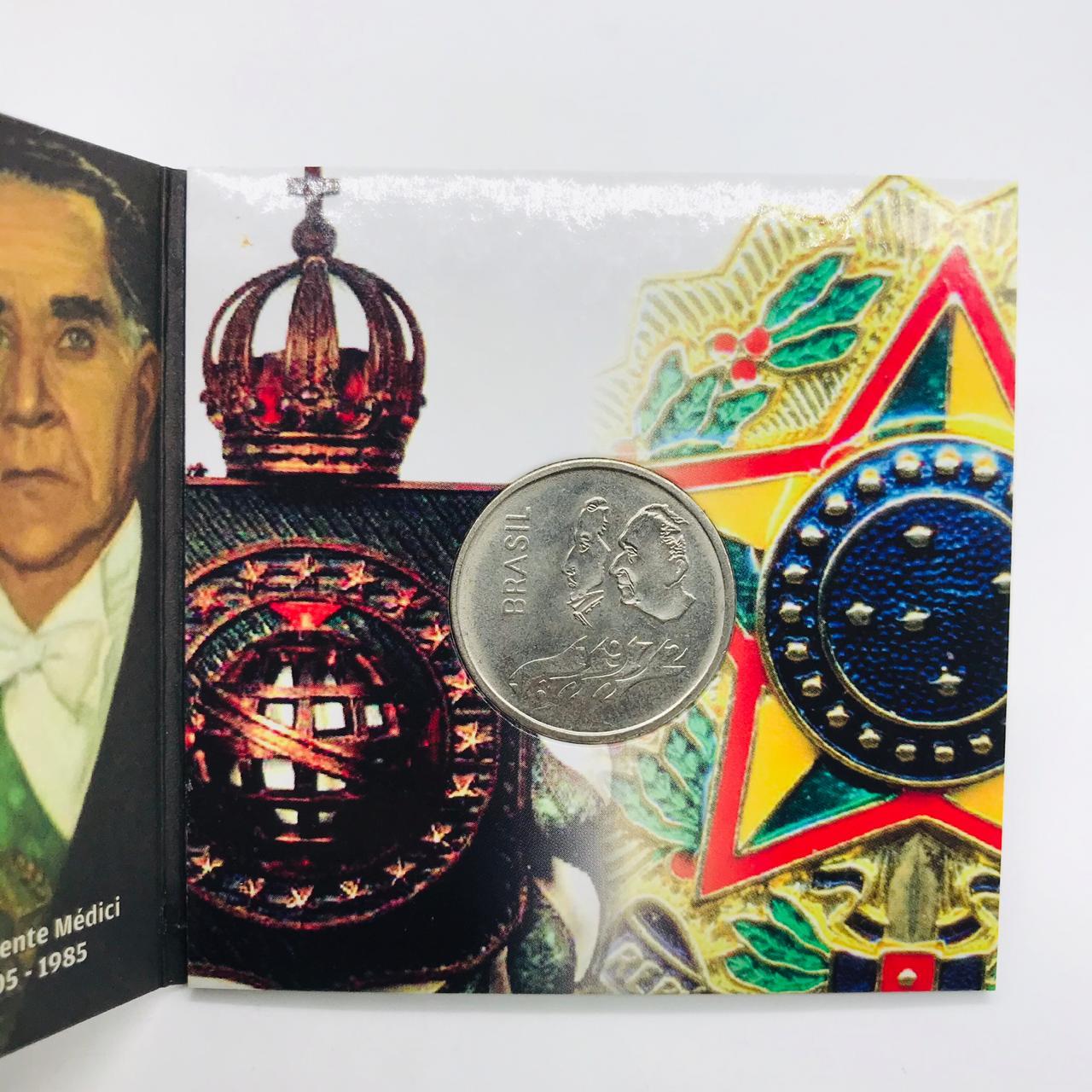 Moeda 1 Cruzeiro 1972 - com folder