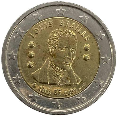Moeda 2 Euros  Bélgica 2 euro, 2009 Bicentenário do Nascimento de Louis Braille