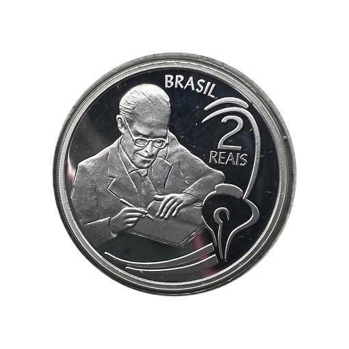 Moeda 2 Reis 2002 Prata 100 Anos Carlos Drummond de Andrade