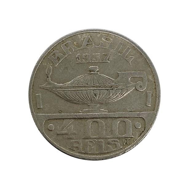 Moeda 400 Reis 1937 Oswaldo Cruz