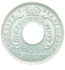 Moeda África Ocidental Britânica 1/10 Pence 1926 SOB