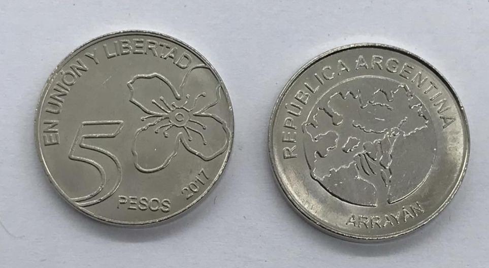Moeda Argentina 2017 - 5 pesos
