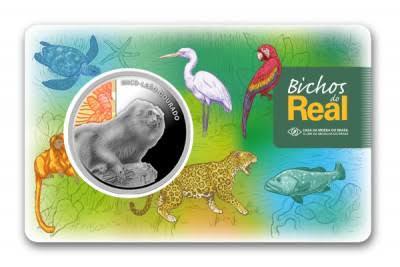Moeda do Real Mico-leão-dourado / Coleção Bichos