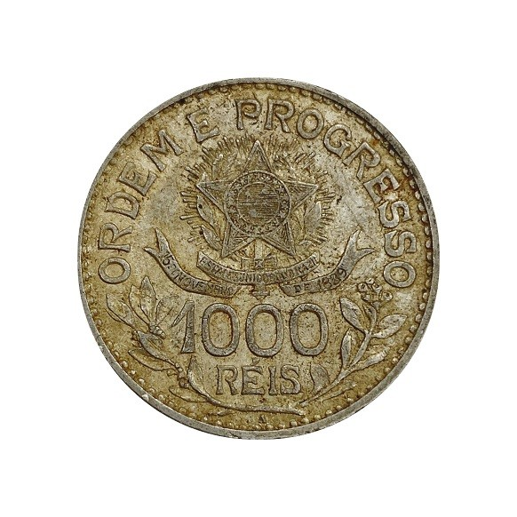 Moeda Brasil 1000 réis 1913 Prata Estrelas Soltas