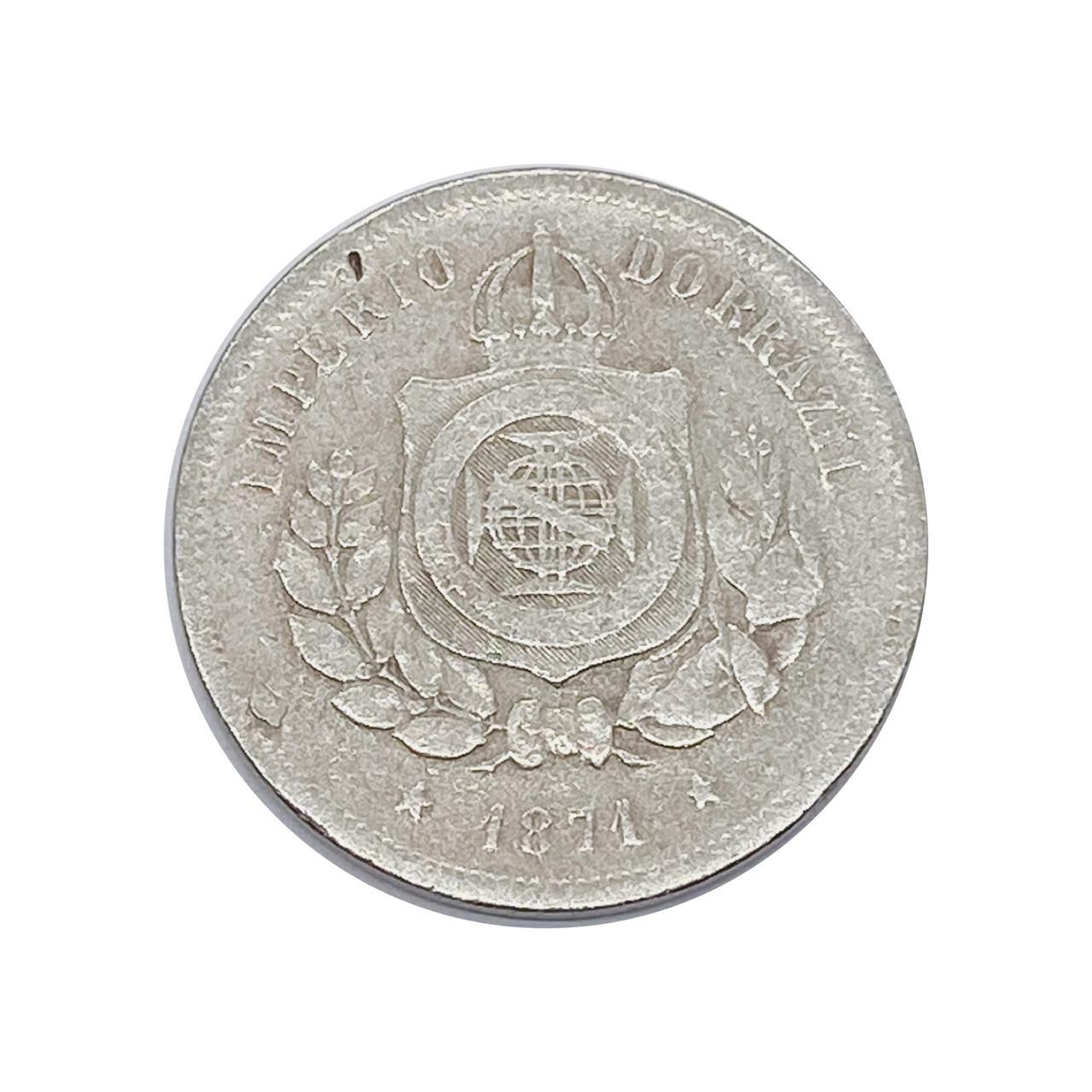 Moeda Brasil 100 Réis 1871 MBC