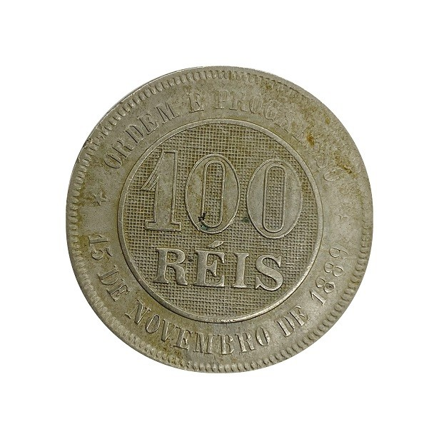 Moeda Brasil 100 Réis 1896 SOB