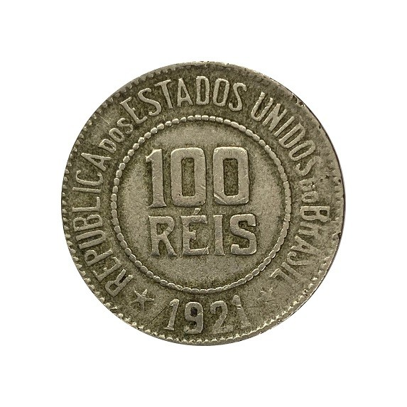 Moeda Brasil 100 Réis 1921 MBC