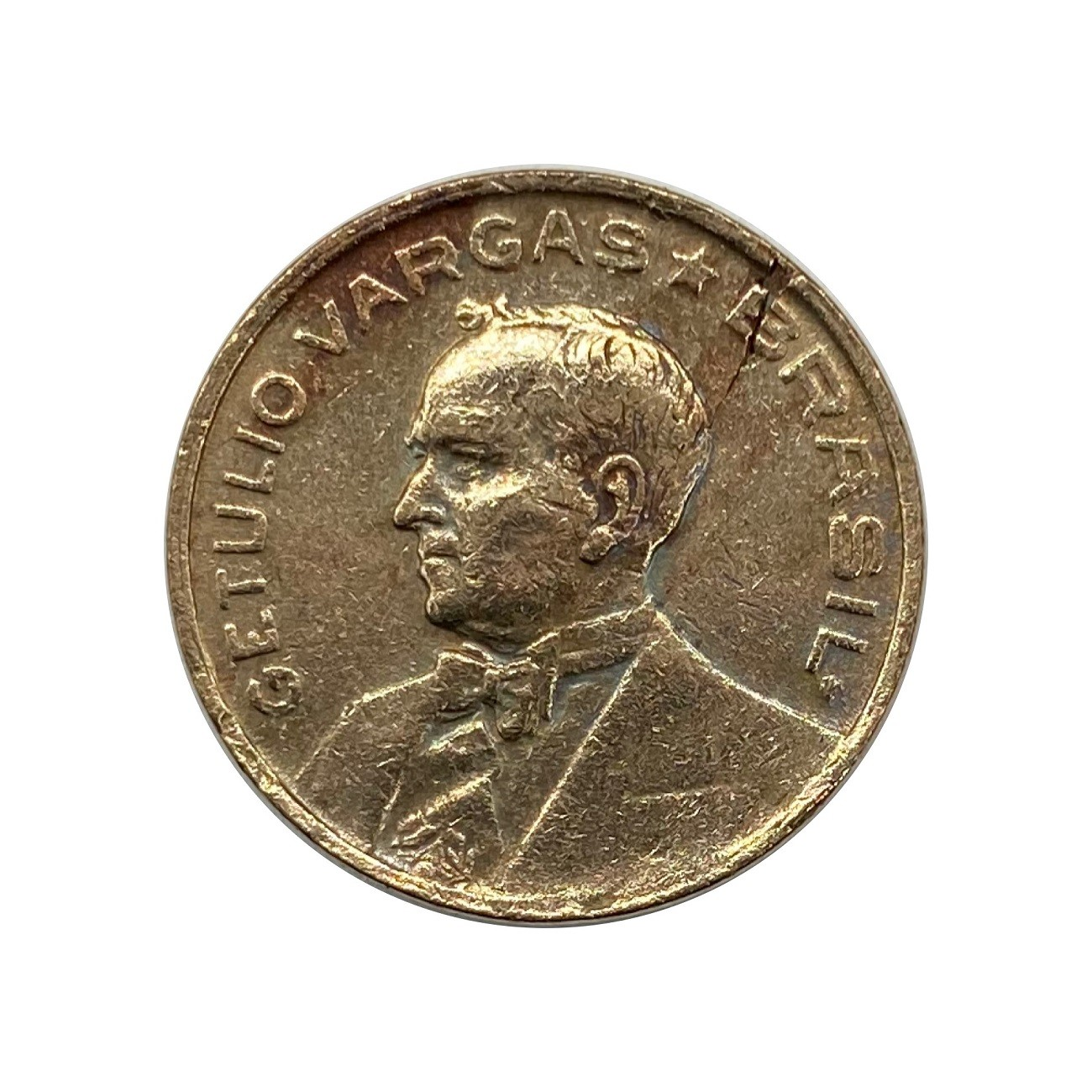 Moeda Brasil 10 Centavos 1942 Getúlio Vargas - Níquel Rosa MBC