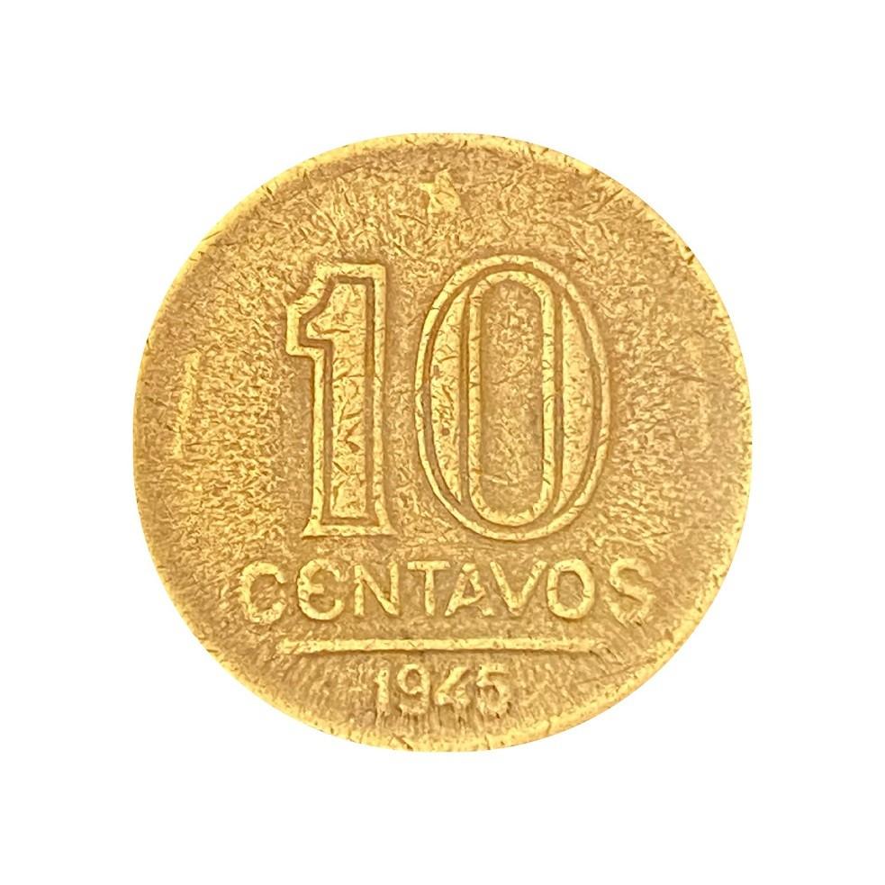 Moeda Brasil 10 Centavos 1945 Getúlio Vargas MBC