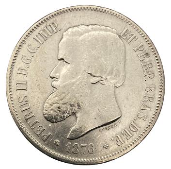Moeda Brasil 2000 Réis 1876 SOB
