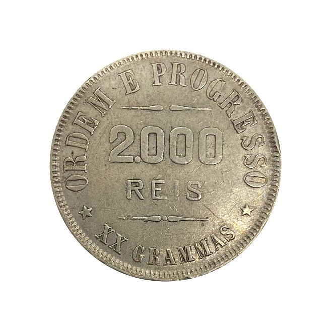 Moeda Brasil 2000 reis 1907 MBC