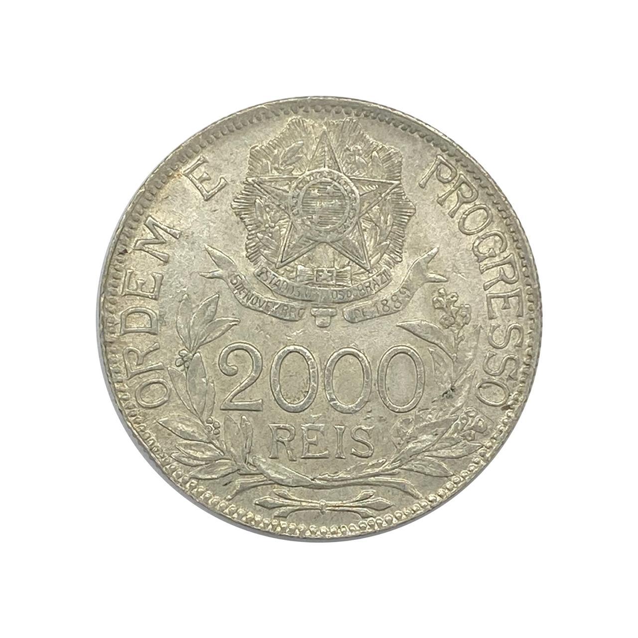 Moeda Brasil 2000 Réis 1913 Estrelas Ligadas SOB