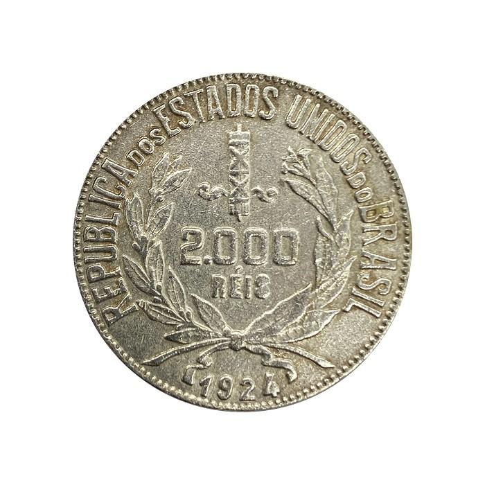Moeda Brasil 2000 reis 1924 MBC + Cartela de Brinde