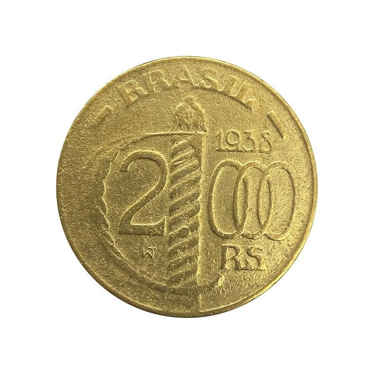 Moeda Brasil 2000 reis 1938 poligonam MBC