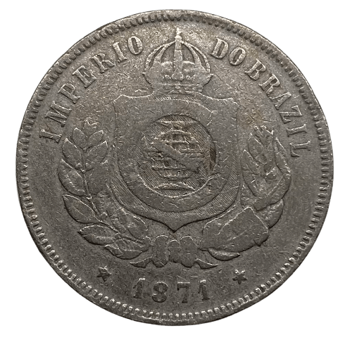 Moeda Brasil 200 Réis 1871 MBC