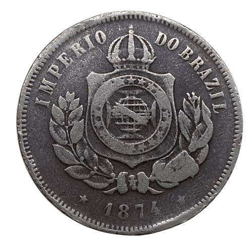 Moeda Brasil 200 Réis 1874 MBC