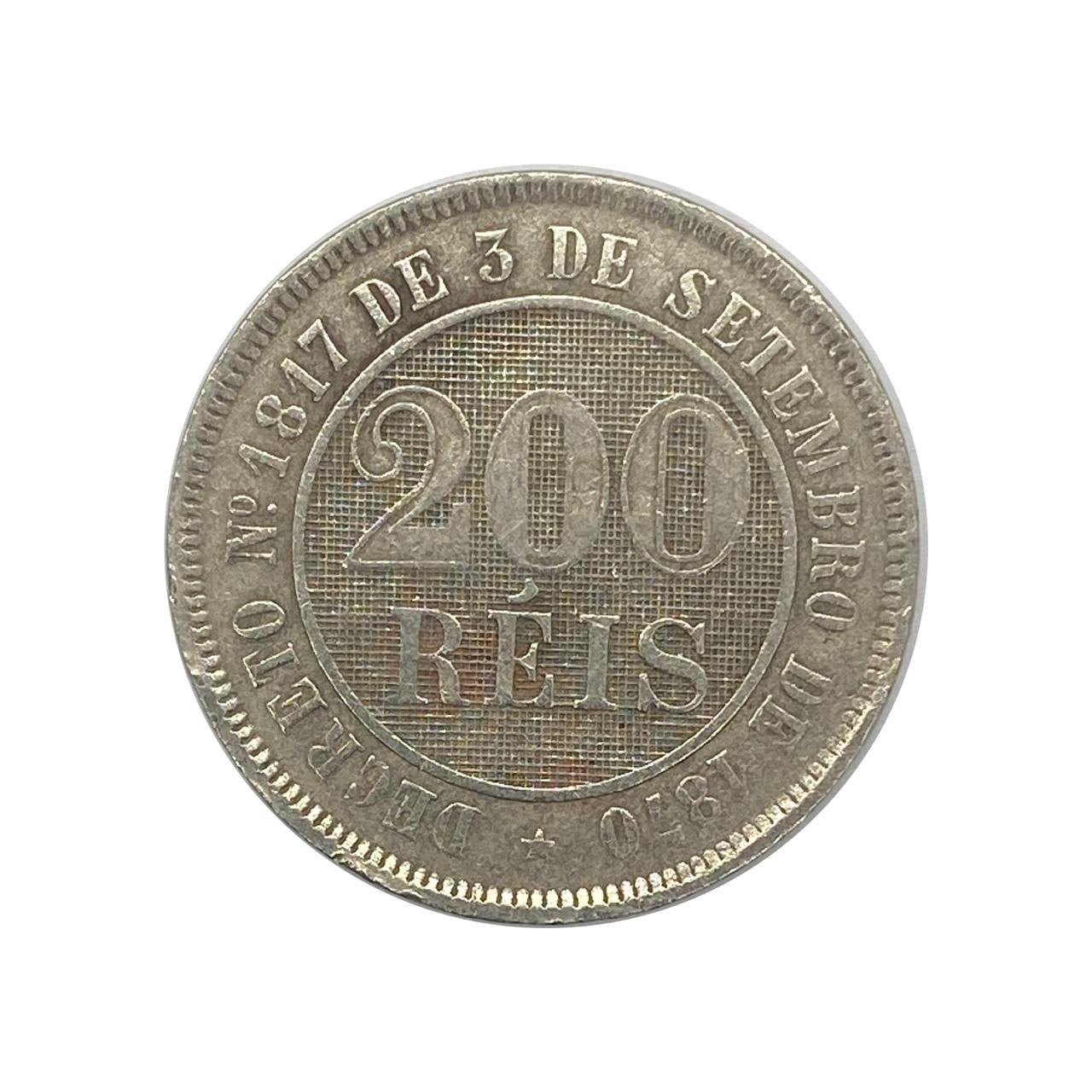 Moeda Brasil 200 Réis 1887 SOB